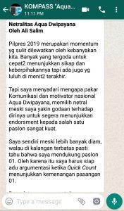 Penyampaian Aqua Dwipayana 23 April 2019 Tokoh Silaturahim Indonesia melalui WAG KOMPASS Nusantara