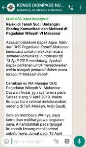 Penyampaian Aqua Dwipayana Tokoh Silaturahim Indonesia 13 April 2019 melalui WAG KOMPASS Nusantara