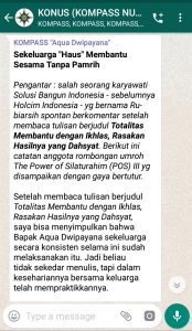 Penyampaian Aqua Dwipayana Tokoh Silaturahim Indonesia 11 Mei 2019 melalui WAG KOMPASS Nusantara