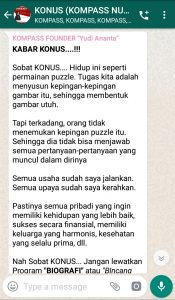 Penyampaian Program Biografi 15 Mei 2019 oleh Founder Yudi Ananta melalui WAG KOMPASS Nusantara
