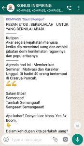 Penyampaian Saut Sitompul Pakar Etos Kerja Indonesia 2 Mei 2019 melalui WAG KOMPASS Nusantara