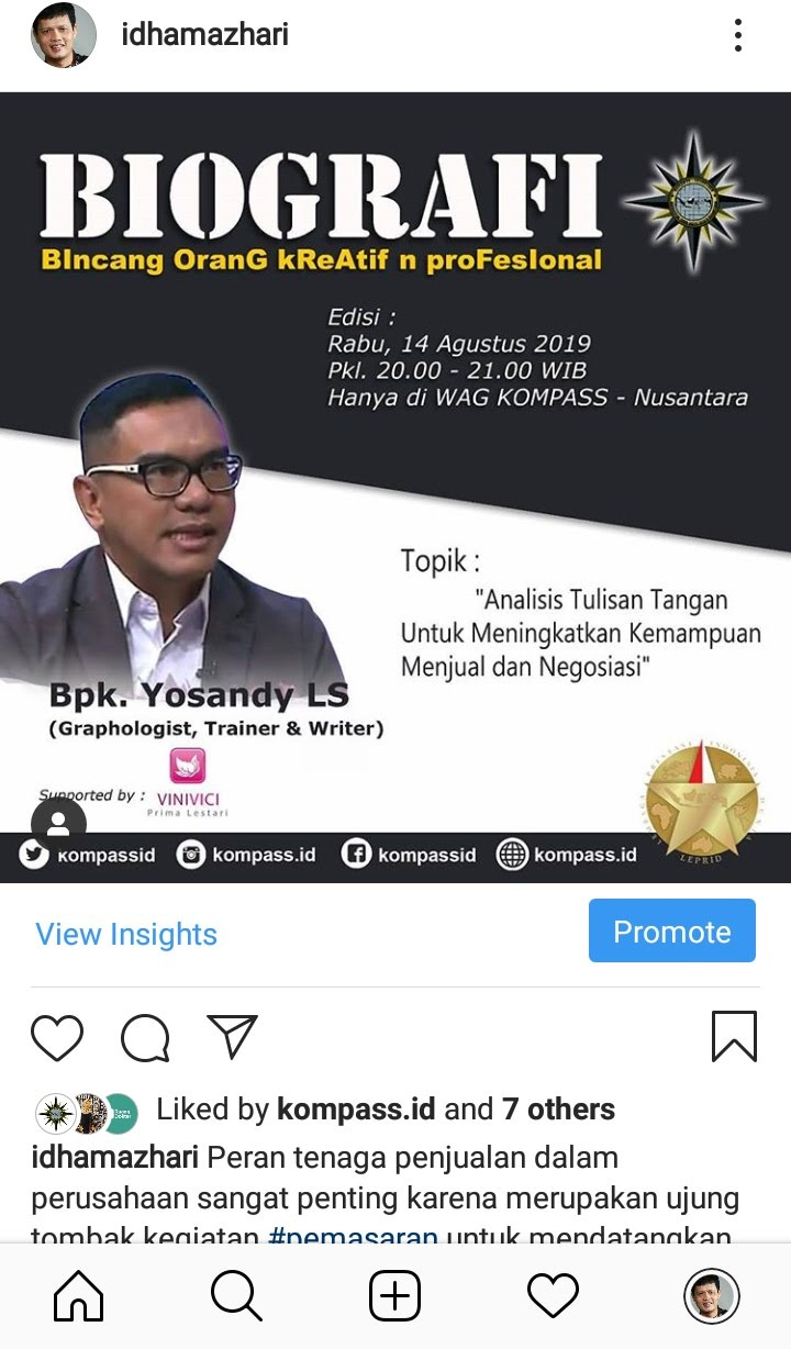 Preview Program BIOGRAFI KOMPASS Nusantara at Instagram IdhamAzhari