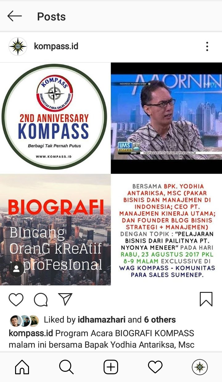 Preview Program BIOGRAFI KOMPASS Nusantara at Instagram kompass.id