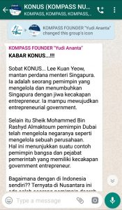 Penyampaian oleh Founder Yudi Ananta 2 September 2019 melalui WAG KOMPASS Nusantara