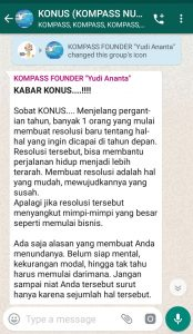 Penyampaian oleh Founder Yudi Ananta 2 Oktober 2019 melalui WAG KOMPASS Nusantara