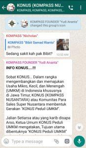 Penyampaian Founder Yudi Ananta 25 November 2019 melalui WAG KOMPASS Nusantara