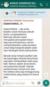 Penyampaian Founder Yudi Ananta 5 November 2019 melalui WAG KOMPASS Nusantara