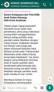 Penyampaian Aqua Dwipayana Tokoh Silaturahim Indonesia 1 Desember 2019 melalui WAG KOMPASS Nusantara