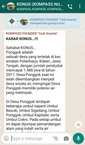 Penyampaian Founder Yudi Ananta 24 Desember 2019 melalui WAG KOMPASS Nusantara