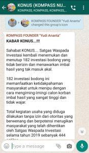 Penyampaian Founder Yudi Ananta 8 Januari 2020 melalui WAG KOMPASS Nusantara