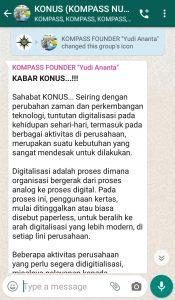 Penyampaian Founder Yudi Ananta 10 Februari 2020 melalui WAG KOMPASS Nusantara