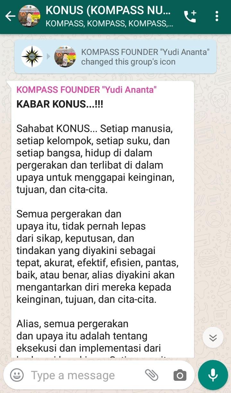 Penyampaian Founder Yudi Ananta 3 Februari 2020 melalui WAG KOMPASS Nusantara